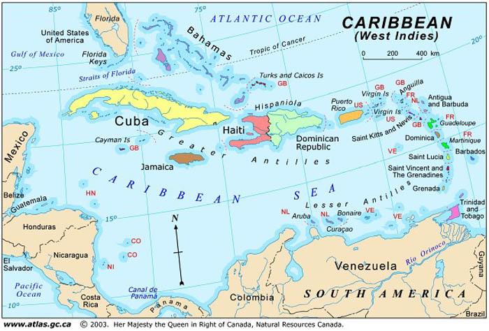 Snails Of The WorldThe Caribbean - World map caribbean
